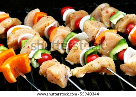 Chicken Shish Kabob on the grill - stock photo