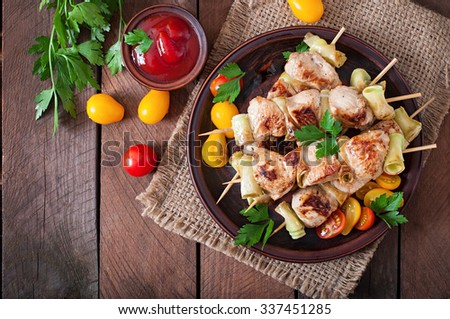 Chicken shish kebab with zucchini. Top view - stock photo
