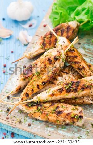 Chicken skewers - stock photo
