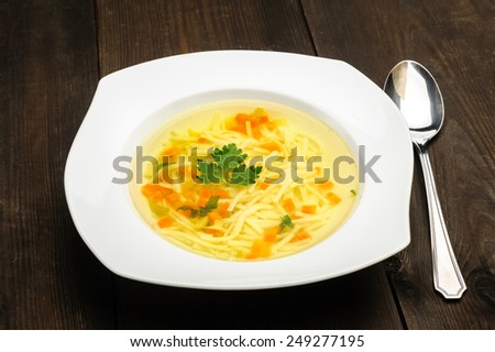 chicken soup - a traditional Polish soup - stock photo