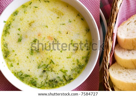 Chicken soup and bread