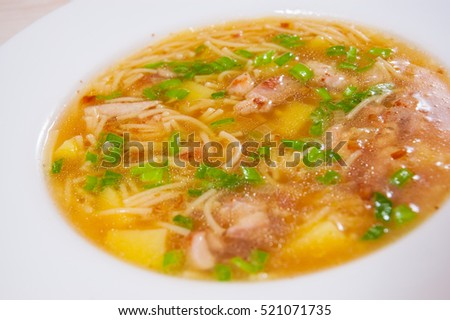 chicken soup with noodle and vegetables