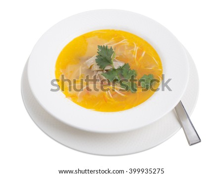 Chicken soup with noodles, carrot and parsley. Isolated on a white background. - stock photo