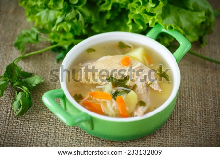 chicken soup with noodles in a bowl - stock photo