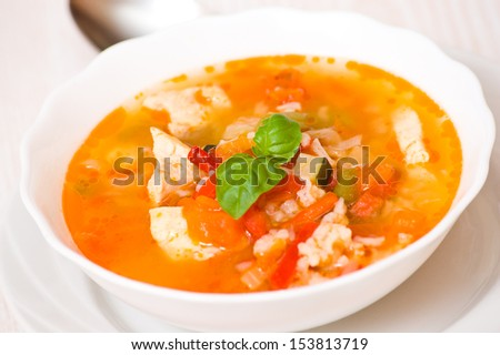 chicken soup with rice and vegetables - stock photo
