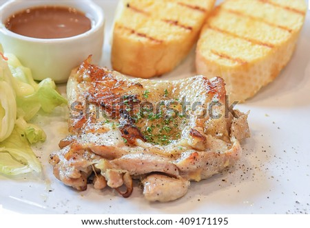 Chicken steak  and vegetables,with Gravy Sauce - stock photo