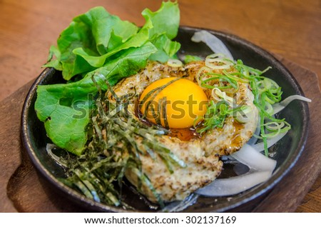 Chicken Steak with Eggs and vegetable - stock photo