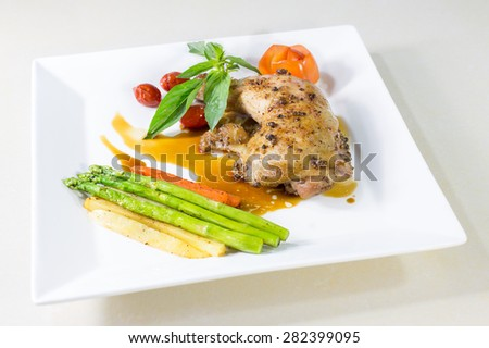 Chicken steak with vegetable delicious - stock photo