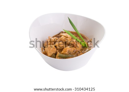 Chicken stew in bowl isolated on white background - stock photo