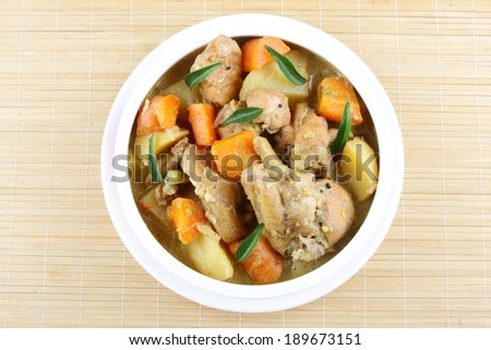 Chicken stew with mixed vegetables. - stock photo