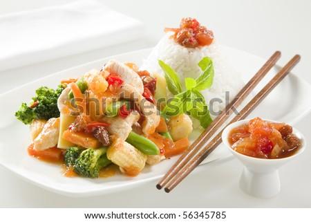 Chicken stir fry with chutney - stock photo