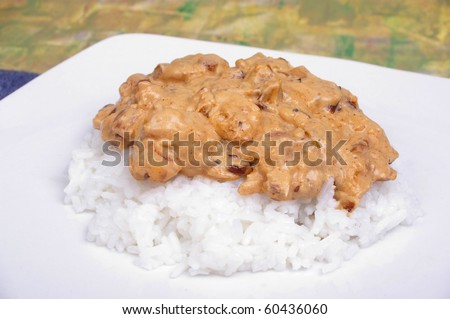chicken stroganoff served with boiled white rice - stock photo