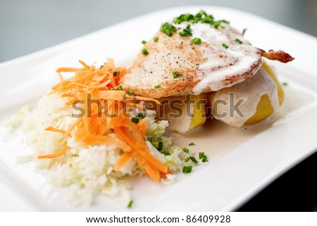 Chicken Stuffed with cream cheese, tomato, carrot and cabbage salad