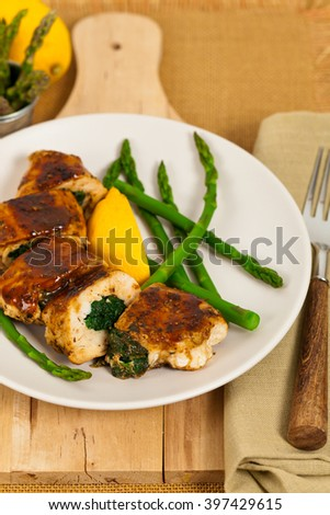 Chicken Stuffed With Spinach. Selective focus.