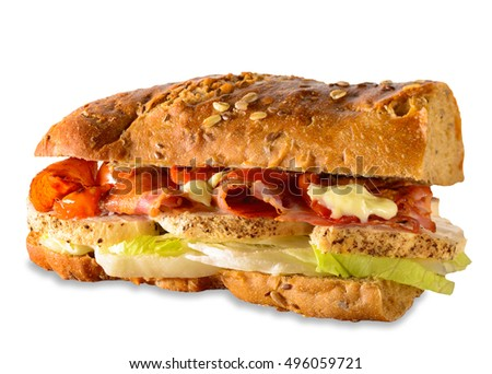 Chicken sub sandwich with thick cut chicken fillet, bacon, lettuce and tomato on whole-wheat, crusty, French bread baguette. Isolated on white with small drop shadow.