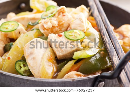 Chicken Sweet - Sour - stock photo
