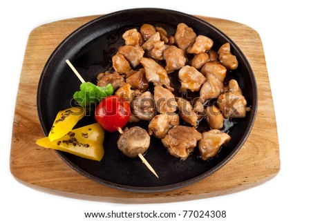 Chicken Teriyaki on Hot Stone Pot isolated