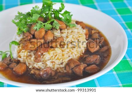 Chicken teriyaki sauce with steam rice - stock photo