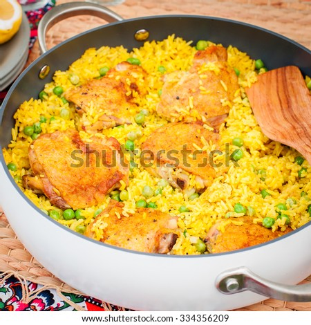 Chicken Thigh and Rice Biryani with Green Peas, square - stock photo