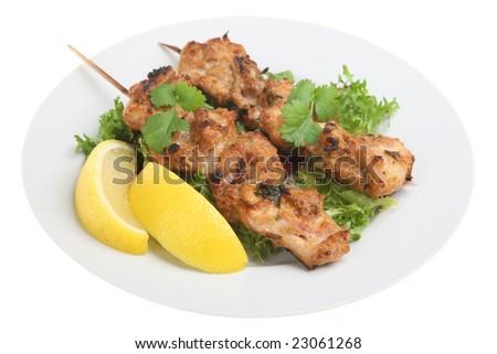 Chicken Tikka Kebabs - stock photo