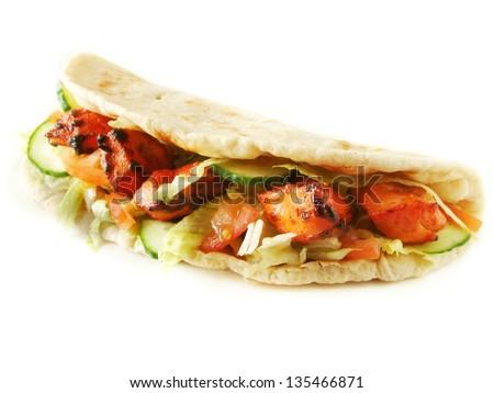 chicken tikka naan sandwich - stock photo