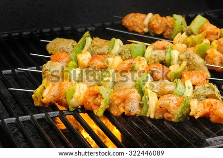 Chicken tikka on the grill, selective focus - stock photo