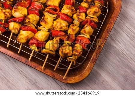 Chicken tikka overhead view - stock photo