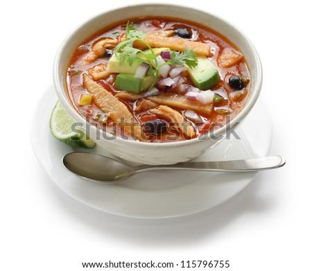 chicken tortilla soup, mexican cuisine - stock photo