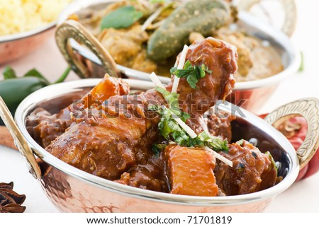 Chicken Vindaloo and Curry - stock photo