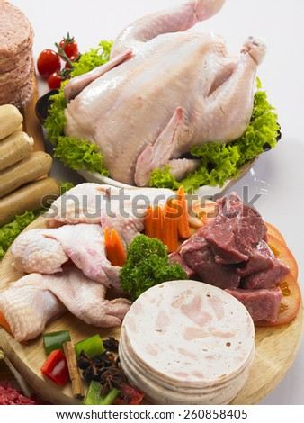 chicken wing and other meat - stock photo