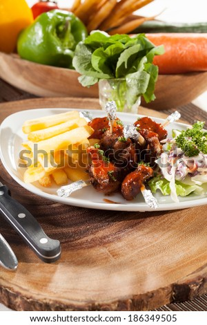 chicken wing, decorated dish of chicken wings with fries potato