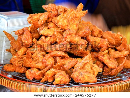 Chicken wings, Deep Fried Chicken wings on grill tray Thai Street Food ...
