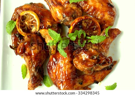 Chicken wings, oven roast with lemon and herbs