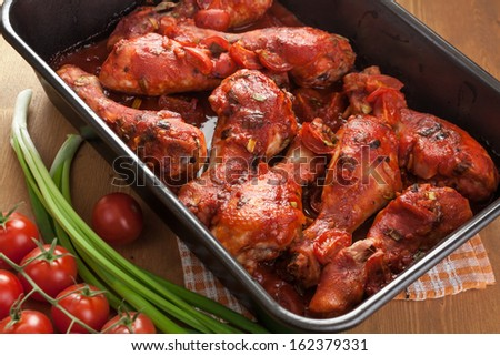Chicken Wings with tomato barbecue sauce - stock photo