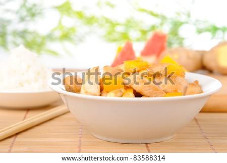 Chicken with cashew, mango and rice - stock photo