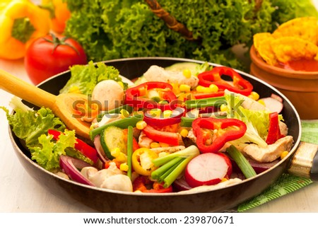 Chicken with chopped vegetables in the pan - stock photo