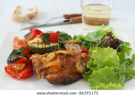 chicken with grilled vegetables and salad