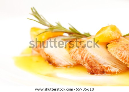 chicken with mandarin sauce - stock photo