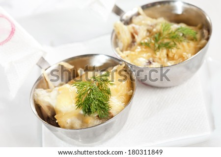 chicken with mashed cauliflower and cheese  - stock photo