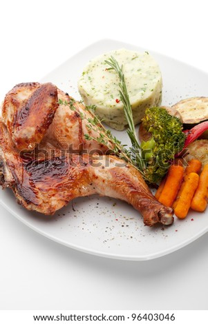 Chicken with Mashed Potato and Grilled Vegetables