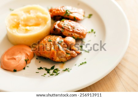 chicken with mashed potatoes - stock photo