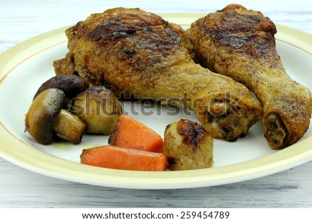 Chicken with mushrooms - stock photo