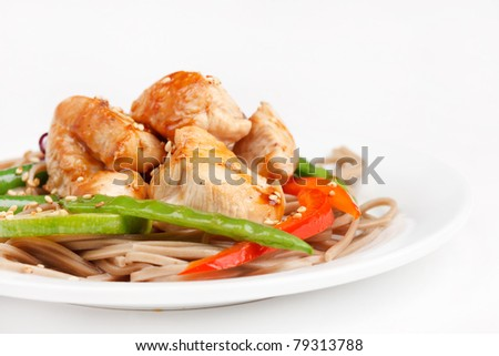 chicken with noodles and vegetables - stock photo