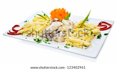 Chicken with pasta - stock photo