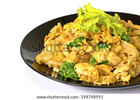 Chicken with Rice Noodles and Vegetables on white