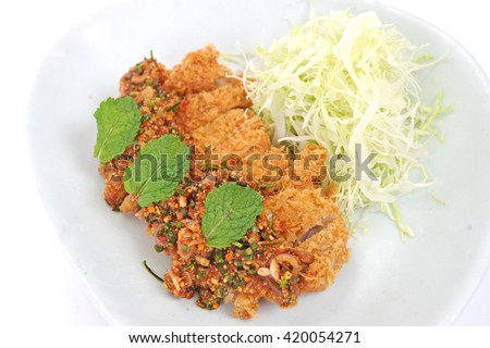 chicken with spicy sauce - stock photo