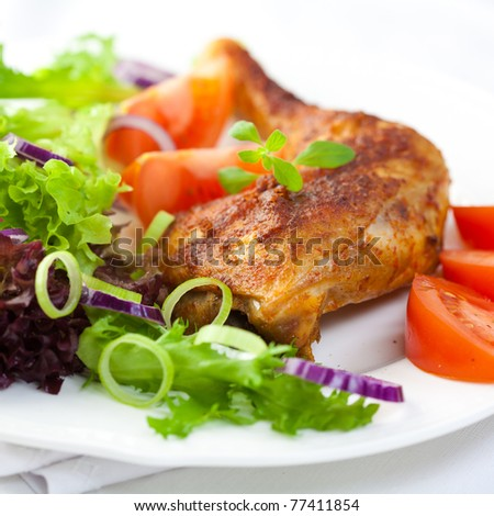 Chicken with vegetable salad