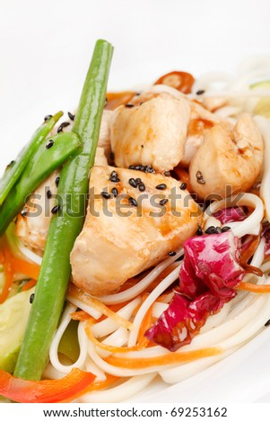 chicken with vegetables and noodles - stock photo