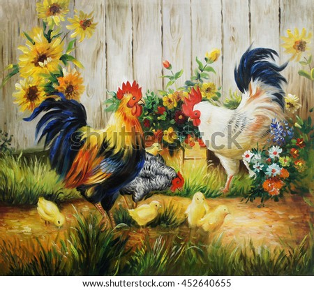 Chickens oil painting background on canvas,illustration,For decorate home. - stock photo