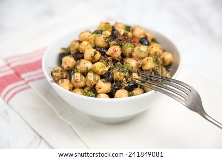 Chickpea and Black Bean Vegetarian Salad with Fresh Herbs - stock photo